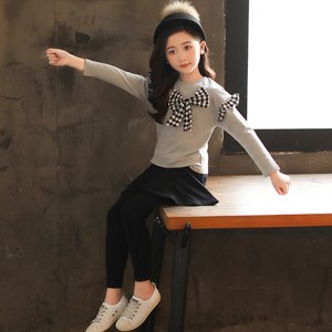 Image 3 - Girls Clothes Set Bow Shirt+Legging 2 Pcs Autumn Suit For Girls Winter Kids Clothes Casual Teenage Girls Clothing 4 6 8 12 Years