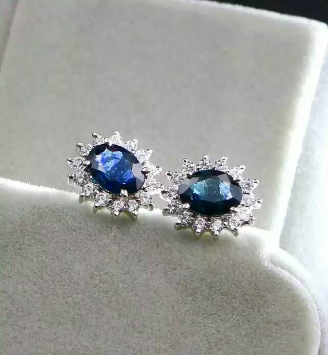 natural sapphire stone earrings 925 silver Natural blue gemstone earring for women Classic elegant round Earrings for annivesary