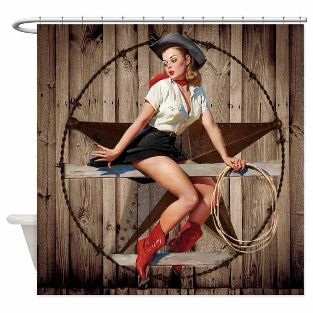 Cute Western Cowgirl Pin Up Girl Shower Curtain Mat Decorative Waterproof Polyester Fabric Bathroom Curtain Set Home Bath Decor