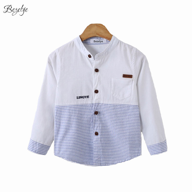a17a2233e7 Children White Shirts Boys Long Sleeve Shirt Cotton Striped Casual Shirt  Boys Spring White Baby Blouse Mandarin Collar Shirts