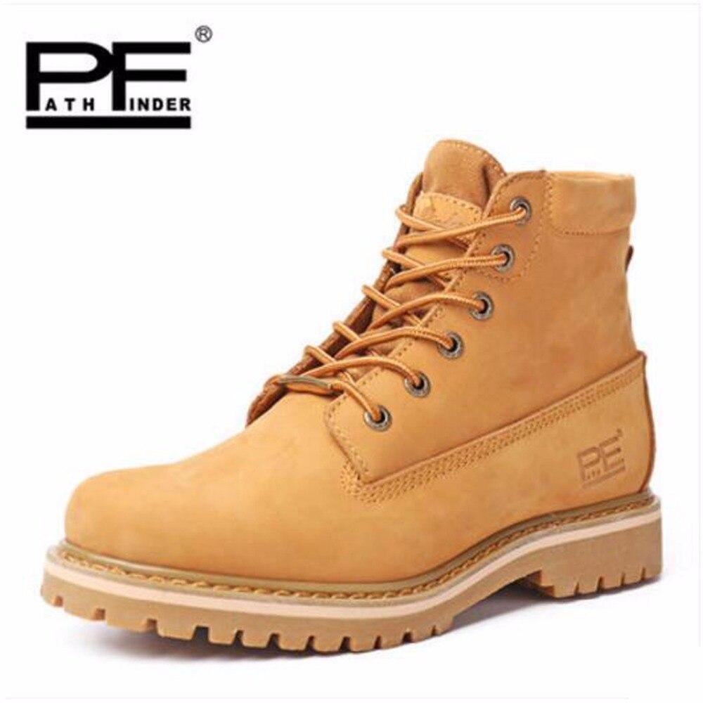 Pathfind brand new Mens En Cuir Neige Martin Outillage militaire Bottes  Hommes En Plein Air Chaussures chaudes Rétro Automne Hiver hommes bois  Bottes 42632cc737a