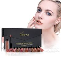 12pcs Beauty Moisturizer Matte Liquid Lipstick Lips Gloss Nude Matte Lipstick Lips Waterproof Metal Color Makeup