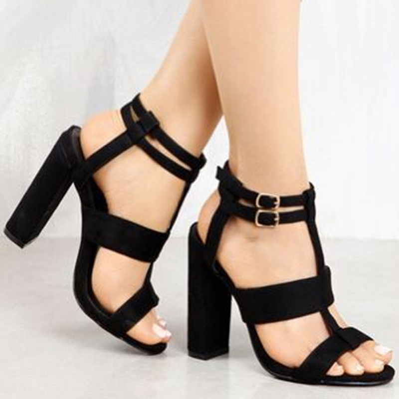 Women's Shoes Suede Leather Sandals Women Pumps Party High Heels Buckle Shoes Woman Sandal Ankle Strap Zapatos Mujer Heel 10.5cm high quality suede leather strappy sandal high heel cut out ankle strap lace up summer dress shoes zapatos dress shoes for women