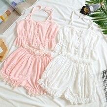 Сексуальный милый женский хлопковый кружевной жилет на подтяжках и шорты, пижамный комплект, ночное белье, нижнее белье, белый и розовый