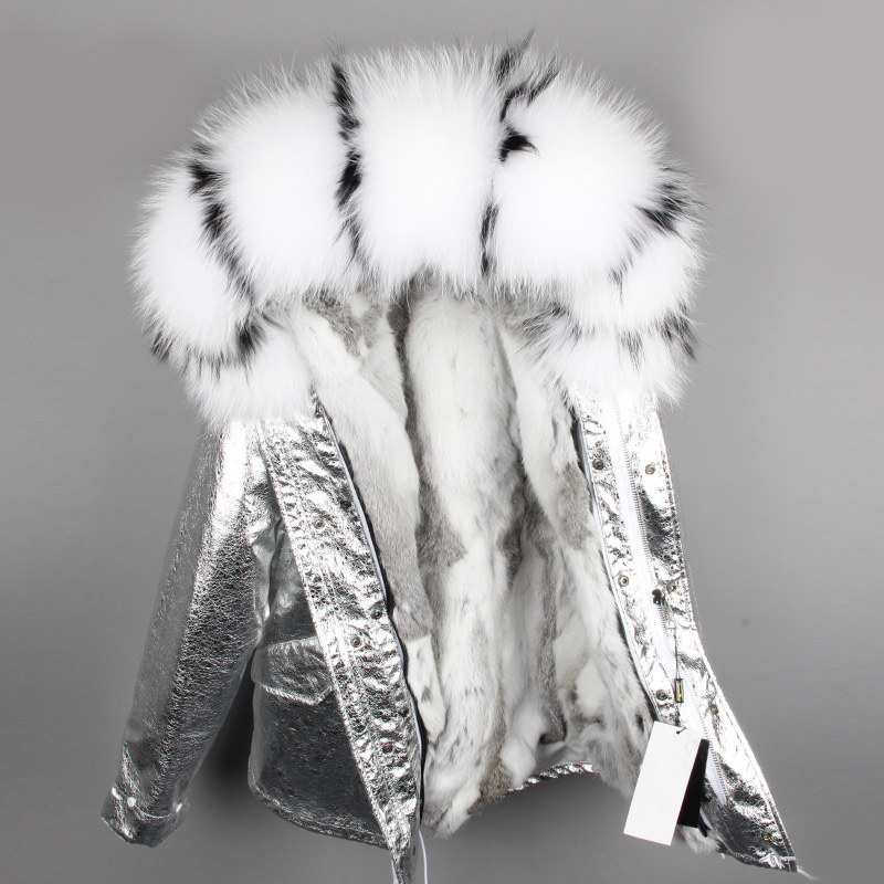 OFTBUY 2019 parka silver winter jacket women real fur coat big natural raccoon fur collar hooded