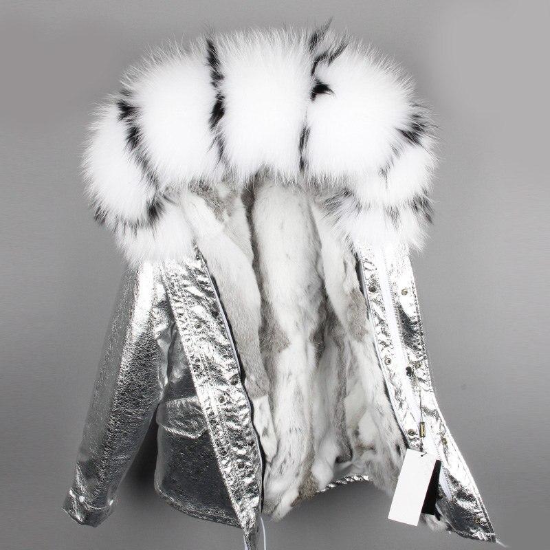 Kadın Giyim'ten Parkalar'de OFTBUY 2019 parka gümüş kış ceket kadınlar gerçek kürk ceket büyük doğal rakun kürk yaka kapşonlu tavşan kürk parkas sıcak kalın'da  Grup 1