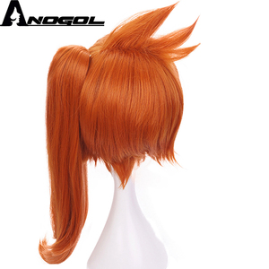 Image 4 - Anogol My Hero Academy Itsuka Kendo Long Straight Ponytail Orange Hair Wigs Synthetic Cosplay Wig For Halloween Role Play Party