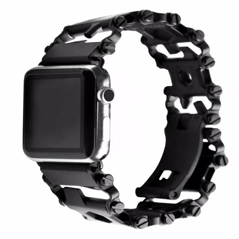 Leatherman Bracelet Stainless Metal Watch Adapter Strap for Apple Watch,20mm 22mm 24mm 26mm 28mm Watch Band for Gear S3 S2 Sport straps 20mm 22mm 24mm 26mm calf skin genuine leather watch band with watch stainless steel black buckle for panerai watch strap