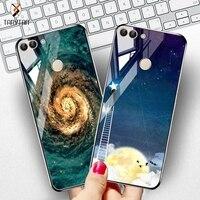 Gehärtetem Glas Fall Für Huawei P Smart 2018 Cases Sterne Raum Silikon Schutzhülle Zurück Abdeckung für Huawei Ehre 8x10 9 Lite Fällen
