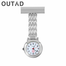 Stainless Steel Arabic Numerals Quartz Brooch Doctor Nurse Pocket Watch relogio de bolso button battery Drop Shipping Wholesale(China)