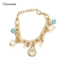 SANYU 2018 New Style Fashionable Exquisite Aluminum Bracelet Scallop Pearl Pendant Lobster Buckle Fit Pandora BR-1575