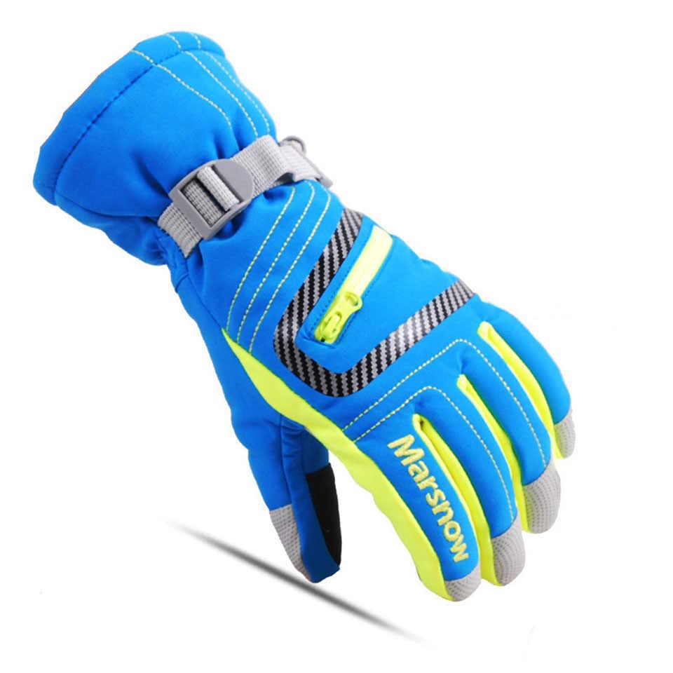 Зимние теплые лыжные перчатки для сноуборда, мужские, женские, детские зимние варежки, водонепроницаемые дышащие перчатки для катания на лыжах, Размеры S/M/L/XL