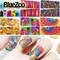 BlueZoo 1 Hoja de Transferencia de Agua Nail Stickers Completa Envuelve Colorido Sueño Patrón Geometría Diseño Watermark Etiquetas de DIY Del Arte Del Clavo