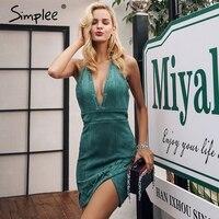 Simplee Deep V Neck Suede Short Dress Backless Zipper Asymmetric Mini Sexy Dress Women Christmas Lace