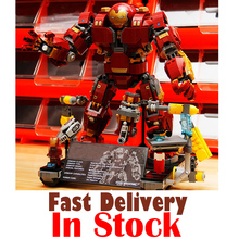 Lepin 07101 1527Pcs Super Heroes Iron Man Anti Hulk Mech Toy Building Murar Block Legoingly 76105 Infinity War Marvel Avengers