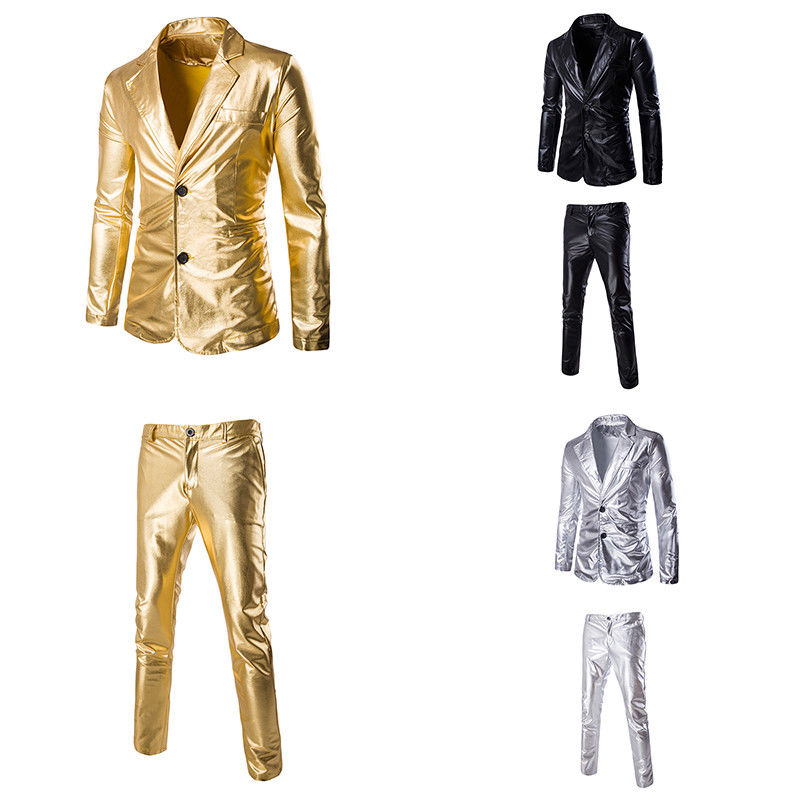 Mens Gold Bling Suit Blazer Bar Coat Jacket Tops Pants Dress Formal ... e5484666b77a