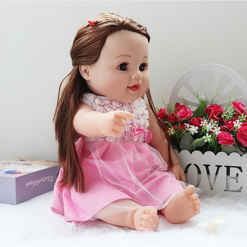 Baby Reborn White Doll Black Girl Vinyl Body Dolls with Long Hair For Girls Cute dolls Gift