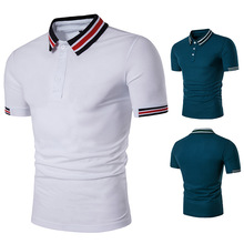 2018 Naujas atsitiktinis vasaros polo marškinėliai vyrų mados prekės plonas medvilninis kvėpuojantis dryžuotas spalvos trumpas rankovinis polo marškiniai vyrai ES dydis