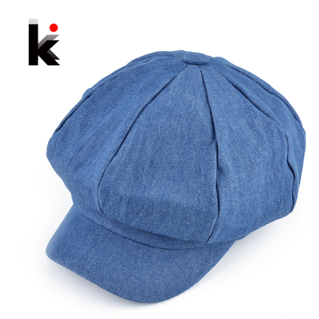 2018 Popular design newsboy caps womens fashion washed denim casual hat  octagonal cap autumn and winter adbc196ce2f
