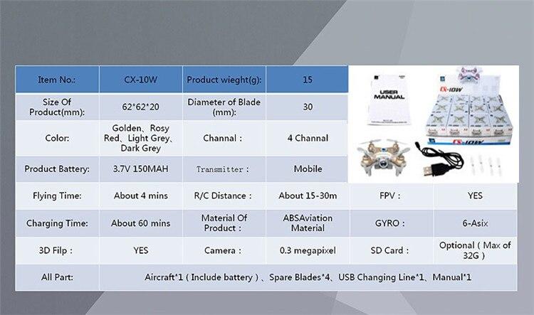 16 Cheerson CX-10W CX 10W Drone Dron Quadrocopter RC Quadcopter Nano WIFI Drone with Camera 7P FPV 6AXIS GYRO Mini Drone 4