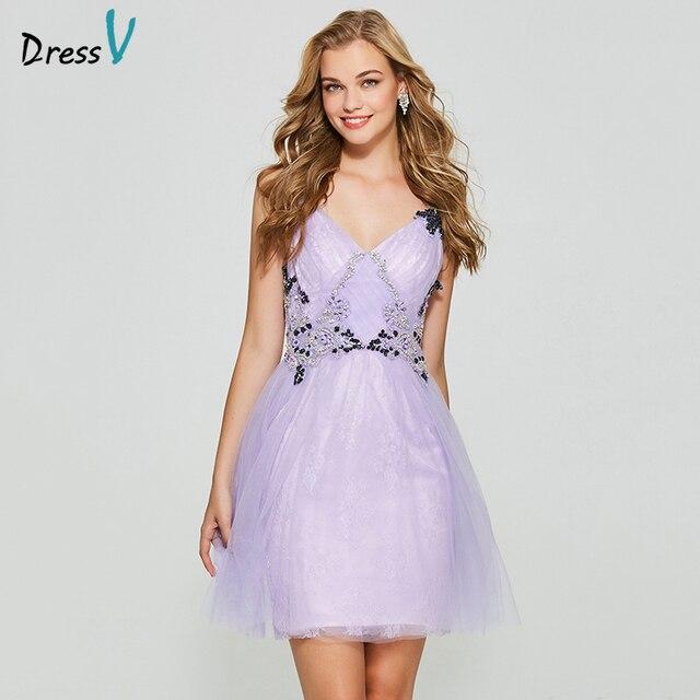 Dressv lavender elegant homecoming dress a line spaghetti straps appliques backless short mini homecoming&graduation dresses