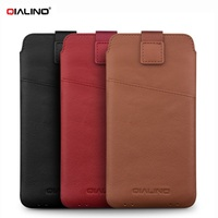 QIALINO Universal Mobile Bag Genuine Leather Sleeve Pouch with Pull Tab for Samsung S7 Note5 S6 Edge Etc Smartphone Cover Shell