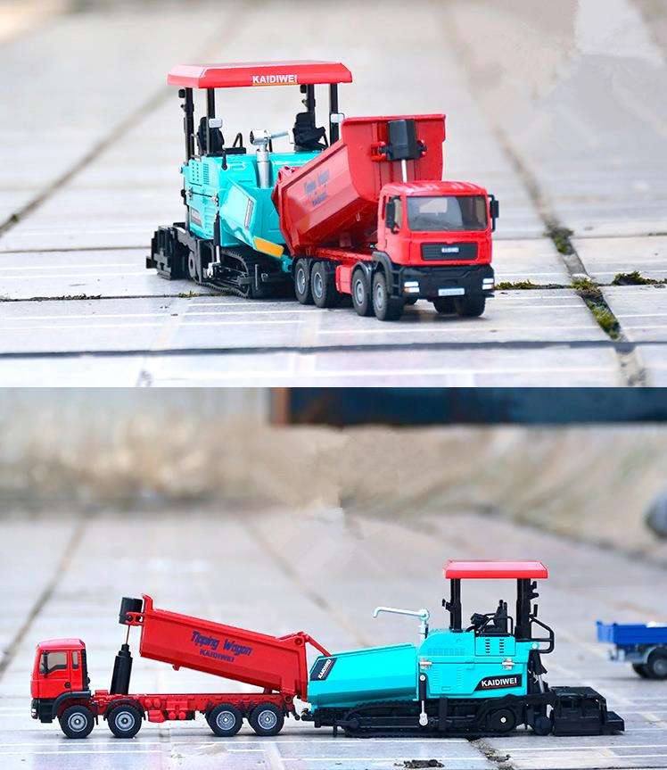 1:32 Diecast Dump Trucks Pavers Die-cast Models Alloy Engineering Toy Vehicles