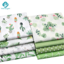 Green Cactus Leaves Polka dots Printed 100% Cotton Fabric Meters for Dresses Cushions Blanket Sewing Cloth Bed Sheet Textile(China)