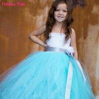 Бирюзовый зеленый цветок девочки платья для маленьких девочек свадебное платье-пачка подружки невесты для принцессы Пром Театрализованно...