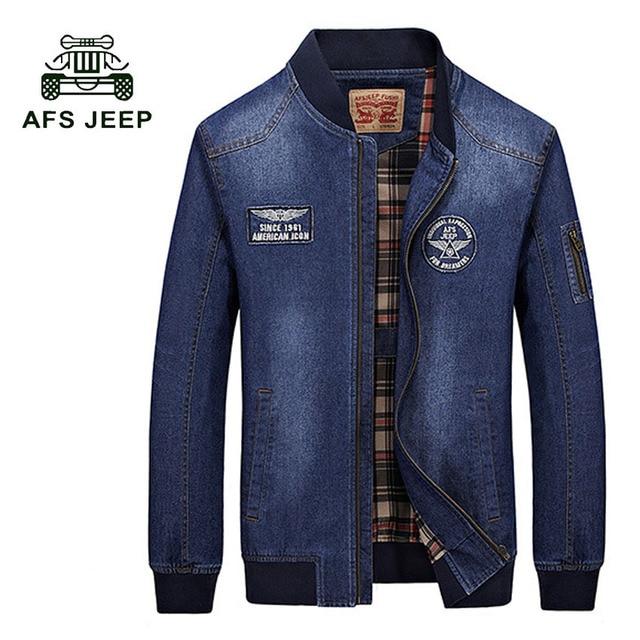 AFS JEEP 2017 baru kedatangan Denim Jaket Pria merek Fashion pakaian Jeans  Jaket Pria Musim Gugur Musim Semi Kasual Pakaian 135z 6ea559c0b2