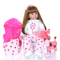KEIUMI 60cm soft silicone rebirth baby doll reborn baby cloth body simulation baby doll girl play with the best gift for childre