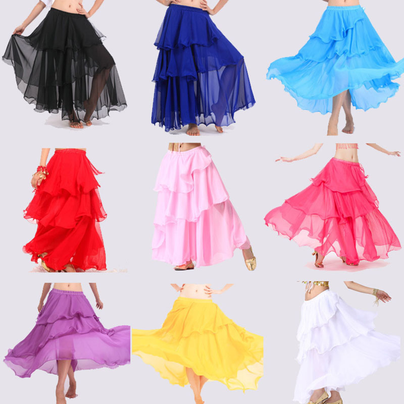 2018 Sexy Dancing Belly Dance Costume Long Wave Skirt Dress10 Colours For Belly Dancer Dancing Skirts