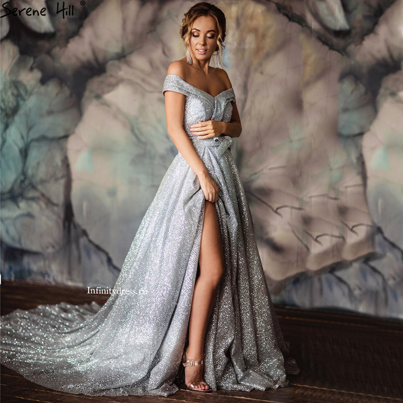 Grey Vintage Off Shoulder Sexy Evening Dresses 2019 Fashion A-Line Glitter With Train Evening Gowns New LA6600