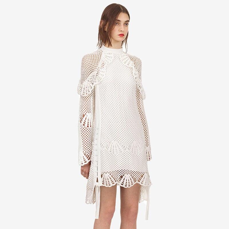 Nouveau début de l'automne 2018 robe taille haute montrer mince long blanc à manches longues femme un rythme F0735