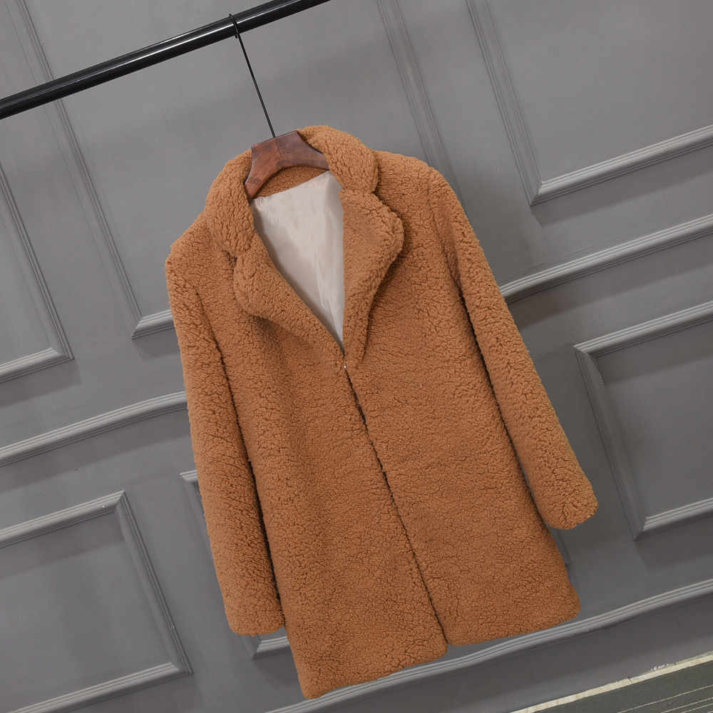 2019 Faux Fur Jas Vrouwen Warm Uitloper Pluche Notch Kraag Losse Bont Jas Winterjas Losse Vest Geul Effen Vrouwelijke jas