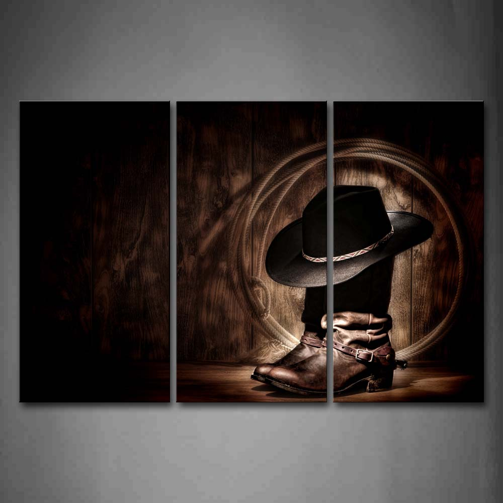 3 Panels Unframed Wall Art Pictures Boots Ropes Cap Cowboy Canvas Print Modern City Posters No Frames For Living Room