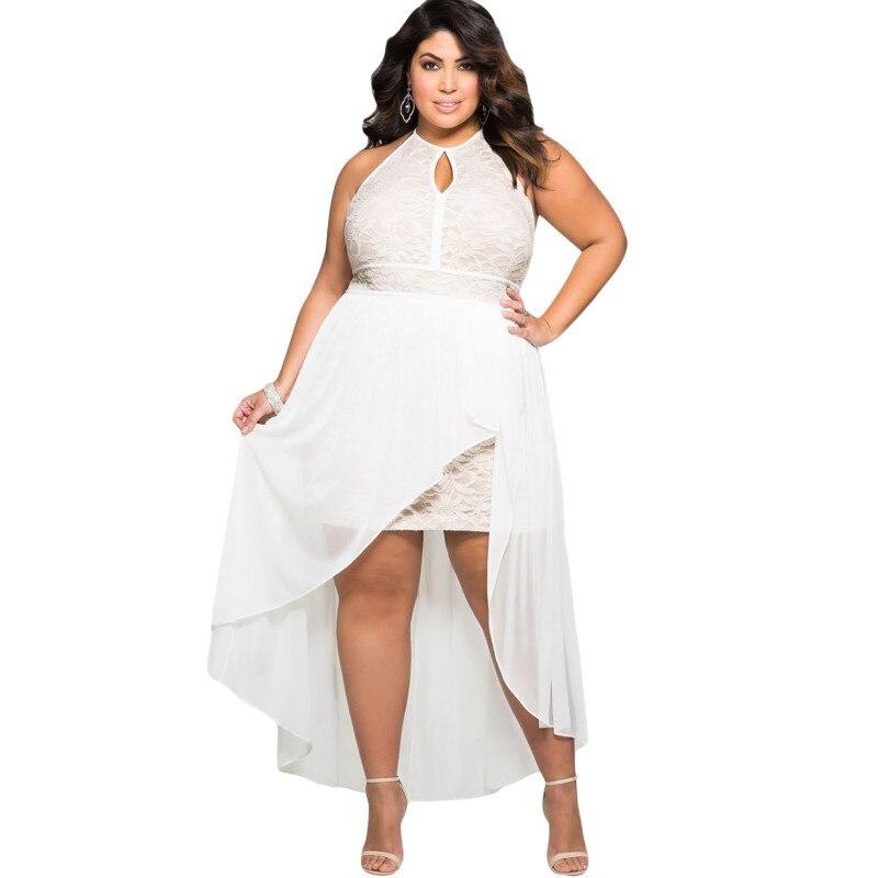 plus size white high low dress - Bare.bearsbackyard.co