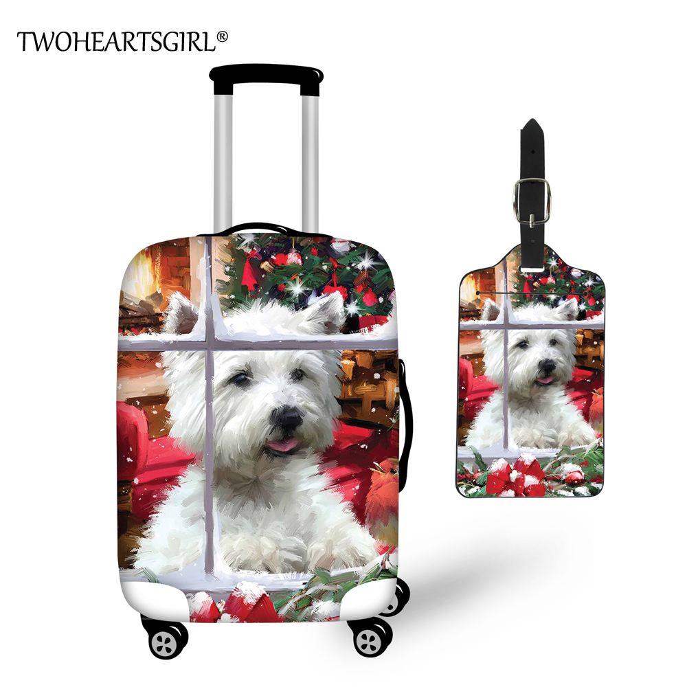 TWOHEARTSGIRL Travel Accessories Cartoon Christmas Westie Luggage Covers For Trolley Suitcase Elastic Luggage Protective Covers