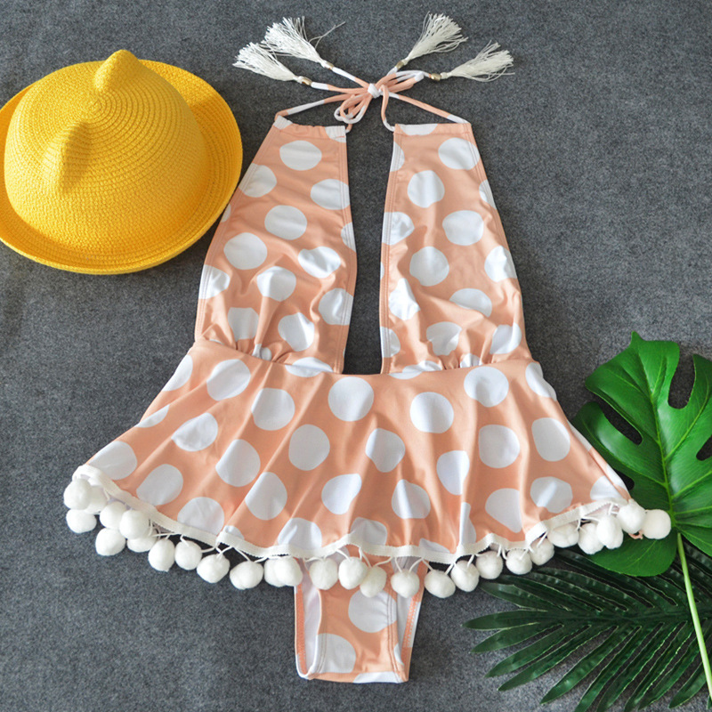 2018 New Ruffle Pattern One-Piece Swimsuit Bathing Suit Swimwear Beachwear For Women Dot Pattern Tankini mixed pattern swimsuit