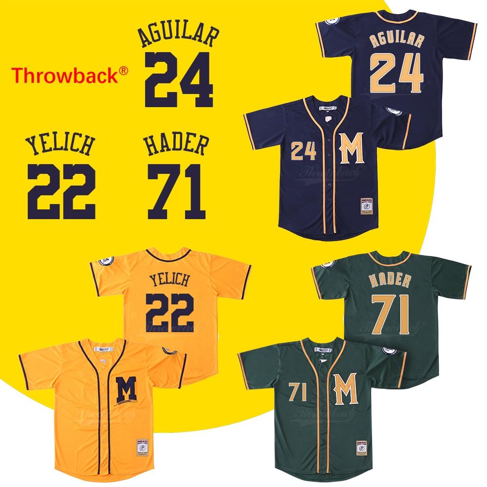 Throwback Jersey Men's Milwaukee Jersey 22 Christian Yelich 24 Jesus Aguilar 71 Josh Hader Baseball Jersey Size S-XXXL