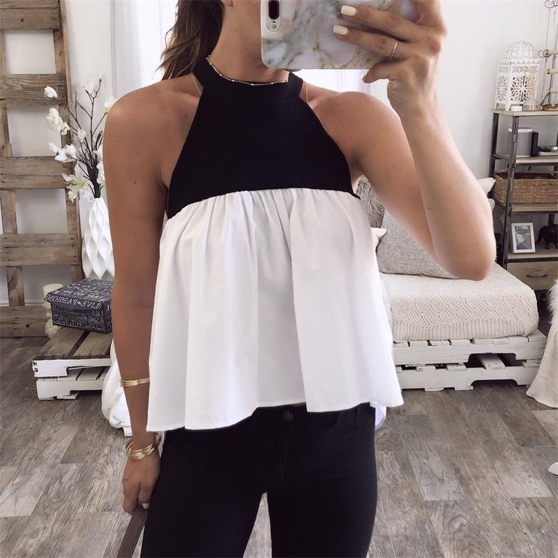 Women Blouse 2019 Summer Sleeveless <font><b>Sexy</b></font> Tops <font><b>Hit</b></font> Colot Patchwork Shirts Casual Loose Plus Size Blusas SJ1812V image