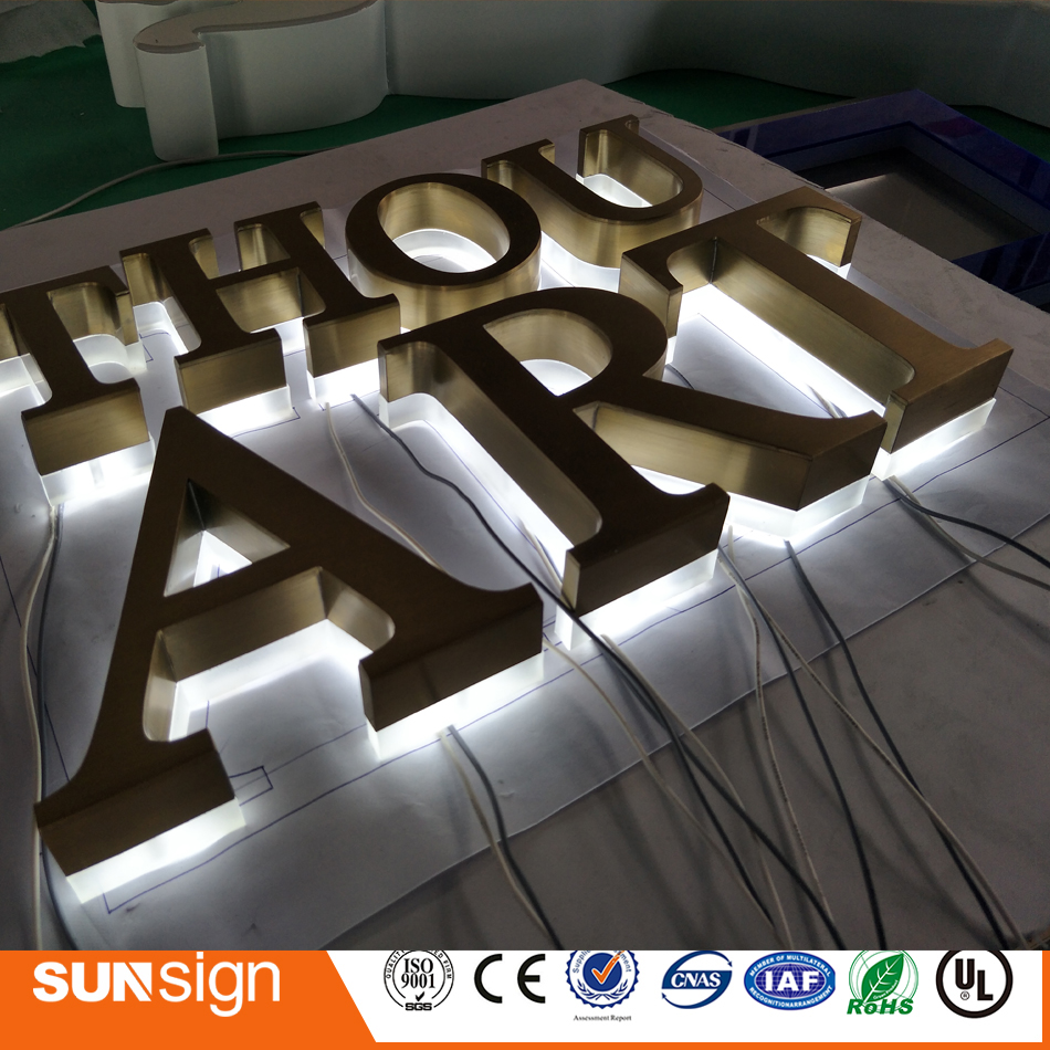 Custom Stainless Steel Golden Color Backlit Numbers