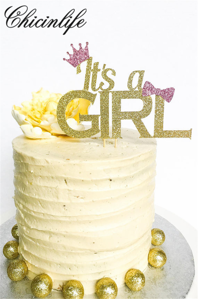 Chicinlife 1Pcs Gold Glitter its a girl/boy Cake Topper happy 1st Birthday Cake Toppers Kids Party baby shower Decorations