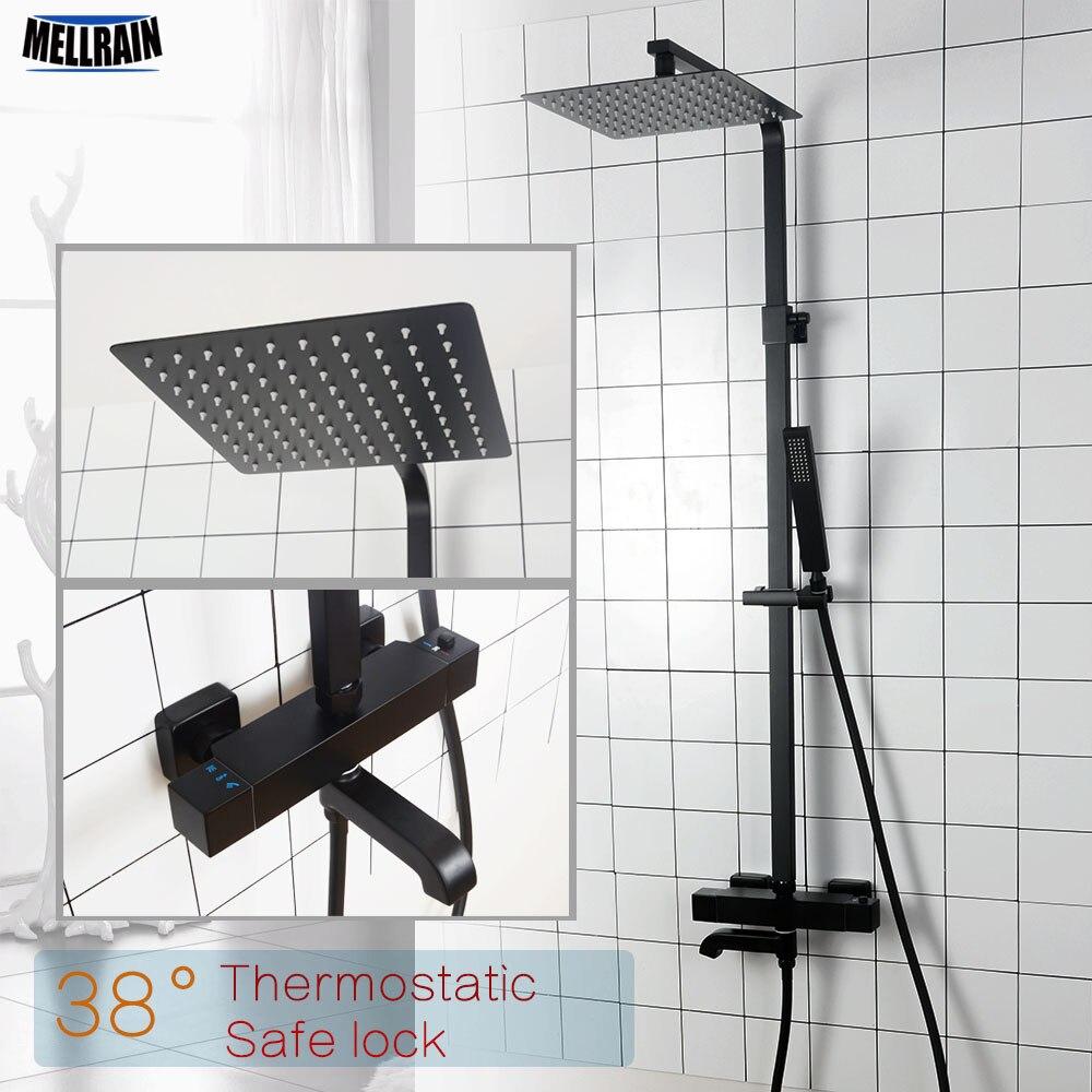 Banheiro do Chuveiro Termostática Torneira de Latão Sólido Matte Black Rain Shower Set Kit Parede Montado Misturador De Água Do Chuveiro de Luxo.