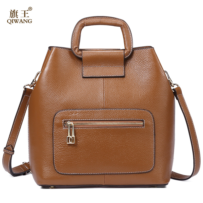 Фотография Qiwang Brown Bag for Woman 2017 Real Leather Soft Bucket Bag Genuine Leather Designer Bag Women 100% Genuine Leather Handbag
