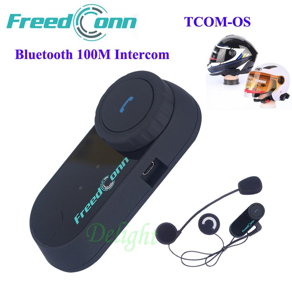 Freedconn TCOM-OS Bluetooth Estéreo Handfree Capacete Da Motocicleta Interfone Fone De Ouvido Fone de Ouvido Da Motocicleta 100 M Capacete Fones De Ouvido