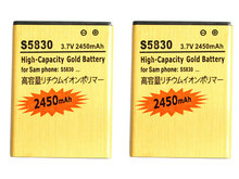 Seasonye 2pcs/lot 2450mAh EB494358VU Gold Replacement Battery For Samsung Galaxy Ace S5830 / i S5660 S5670 S7510 S5838 S7250D