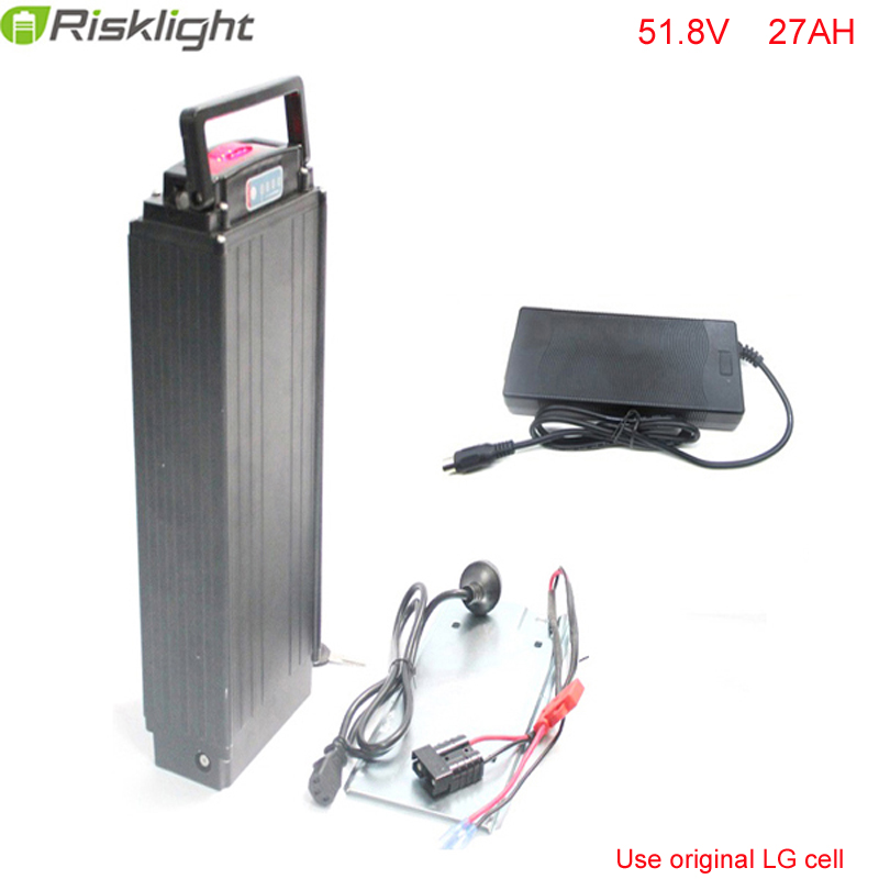 Hot Sales Rear Rack 51.8V 27Ah Electric Bike Battery 52V 1500w Li ion Battery Pack for Sport eBike with  Charger For LG Cell free customs taxes and shipping li ion ebike battery pack 24v 8ah 350w electric bike kit battery hailong e bike with charger