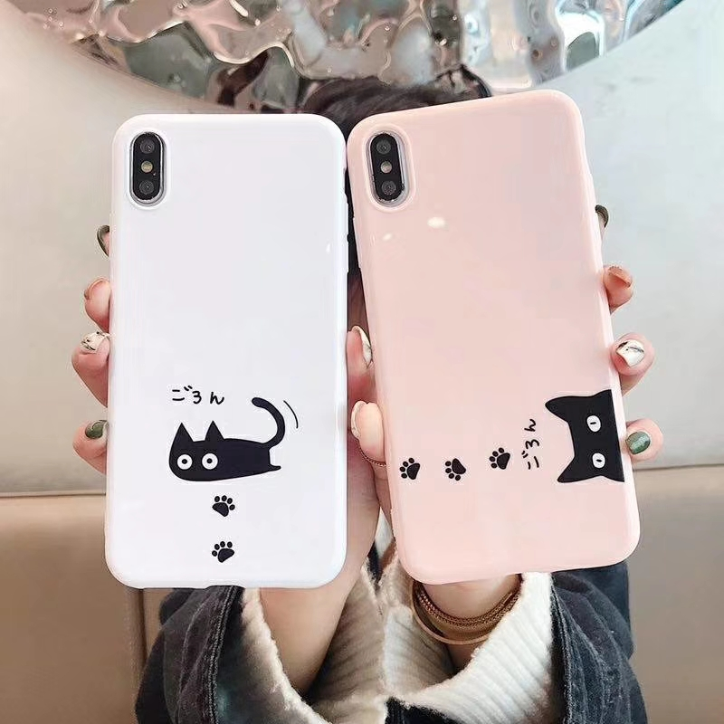 New Japan Cute cat Phone Case For <font><b>iphone</b></font> XS MAX XR X <font><b>6S</b></font> 7 8 Plus Soft Silicon Cartoon Ultra Slim Back Cover Cases <font><b>Coque</b></font> image