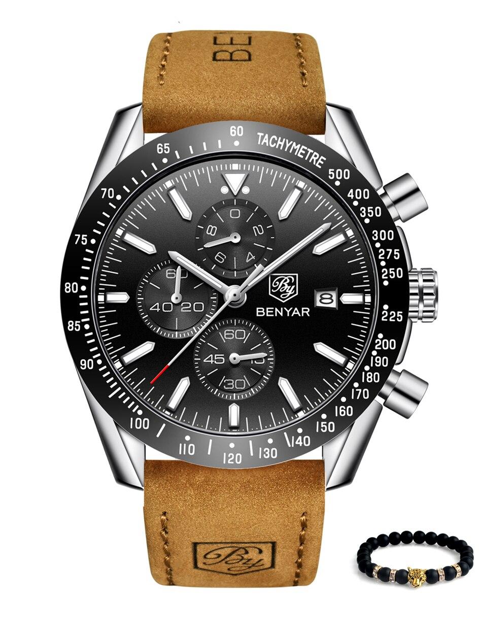 2019 livraison directe de luxe marque BENYAR hommes montres en cuir bande poignet montres hommes chronographe montre mâle Relogio Masculino